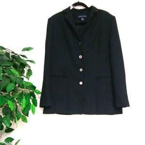 Preston & York Womens Black Strip Size 16 Coat